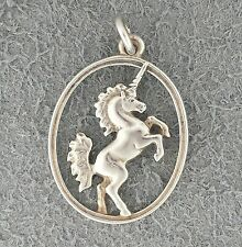 RETIRED RARE Sterling silver James Avery UNICORN charm, in oval pendant openwork