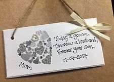 Hand Made Wedding Gift Heart Plaque Mother Of The Groom Wedding Gift Sign
