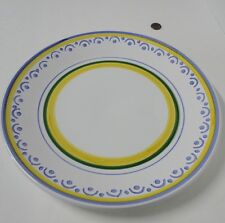 """William Sonoma 14"""" ROUND SERVING PLATTER Large Plate Italy Yellow Blue White EVC"""