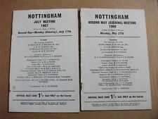 NOTTINGHAM FLAT MEETING RACE CARDS x2 - MAY 27TH, 1968 & JULY 17TH, 1967.
