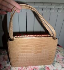 VINTAGE VENEZIA 50S 60S MUSHROOM / CREAM CROCODILE LEATHER HANDBAG KELLY BAG