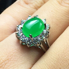 Solitaire Oval Green Jade Ring Genuine Vintage 4.42 ct Transparent Jadeite Stone