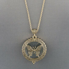 Long Gold Chain Unique Butterfly Design Magnifying Glass Pendant Necklace