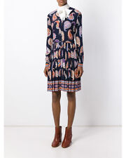NWT Tory Burch  Multicolor Pleated Paisley Print Silk Dress  8