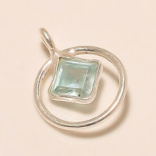 Natural Sky Blue Zircon Small Necklace 925 Solid Sterling Silver Pendant S02775