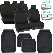 Full Black Car Seat Covers Front & 60/40 Rear w/ Rubber Floor Mats All Weather