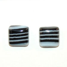 Black and White Agate 12x12mm with 5mm dome Cabochons Set of 2 (12136)