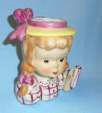 Vintage Purple Planter Girl with Braids w Umbrella Holder Head Vase Retro Cute!