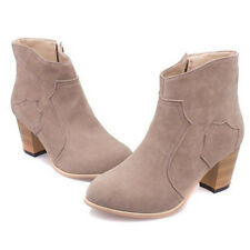New Womens Winter Zip Short Knight Boots Ankle Suede Mid heel Rider Chunky Shoes