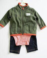 Carter's Baby Boys 3 pc Jacket Bodysuit & Pants Set Sz 3M - NWT