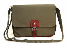 "Quality Canvas Laptop Notebook Bag Macbook 13"" Multi Function Satchel Army Green"