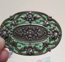 Beautiful Catherine Popesco France Pin - Green Backing on Filigree - 4 Stones