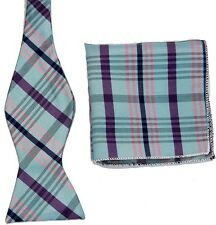 BW098 Blue Purple Unique Tuxedo Bowtie Men's Self Bow Tie + Match Handkerchief
