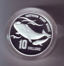 1996 $10 Silver Proof Piedfort Coin The Southern Right Whale Endangered Species