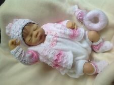 "KNITTING PATTERN 5 PIECE OUTFIT SET BABY 0-3 MTHS REBORN DOLL 19""-21"" no 43"