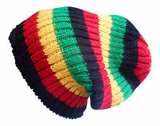 FAIR TRADE WOOL HIPPY BOHO SKATE SKI FLEECE LINED BEANIE RIBBED RASTA HAT