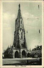 Bern Schweiz s/w Postkarte 1926 gelaufen Straßenpartie am Münster Denkmal Turm
