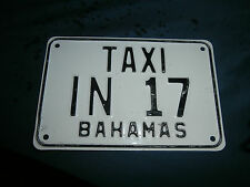 BAHAMAS ACTUAL USED EXPIRED INAUGUA HORSE DRAWN TAXI TAG GREAT TIKI BAR DECOR