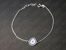 925 Sterling Silver Cubic Zirconia Evil Eye Greek Mati Turkish Nazar Bracelet