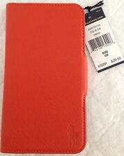 Ralph Lauren Polo~Samsung Galaxy 5S Hardshell Case~Orange Leather~Card Slots~NWT