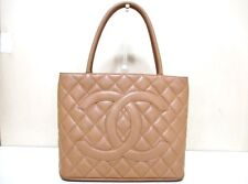 Authentic CHANEL Light Brown Gold Caviar Medallion Tote Bag A01804 6704993