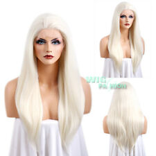 """24"""" Long White Platinum Blonde Straight Lace Front Wig Heat Resistant"""