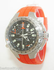 TX TECHNOLUXURY RED,ORANGE+SILVER,BLACK CHRONO+COMPASS+DUAL TIME WATCH TXB891TX