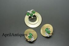 Vintage Marcel Boucher gold-tone green cabochon glass brooch set