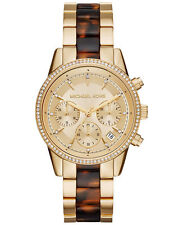 MICHAEL KORS Ritz Tortoise Gold Tone Crystal Chrono Bracelet Watch  MK6322   NEW
