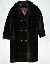Vintage Tudor City Fabric by Malden Dark Black Faux Mink Fur Womens Coat Size M