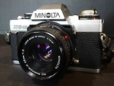 MINOLTA XG-M SLR CAMERA WITH ROKKOR-X 45mm 1:2 LENS EXCELLENT WITH BAG & MANUALS