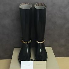 NEW, Genuine Burberry Ebersole Knee-High Buckled Rainboots in Black