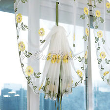 New Embroidered Daisy Flower Shade Sheer Voile Cafe Kitchen Window Room Curtain