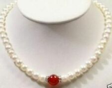 """7-8mm Natural White Cultured Pearl /red jade Necklace 18"""""""