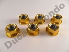Rear sprocket cush drive nuts alloy billet NEW GOLD set of 6 M10 x 1.25mm Ducati