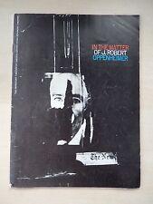 1969 - Vivian Beaumont Theatre Playbill - In The Matter Of J. Robert Oppenheimer