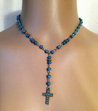 Blue Turquoise Silver Bead Cross Drop Pendant Necklace Womens Gift