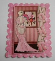 PACK 2 PINK MOTHER EMBELLISHMENT TOPPERS FOR CARDS AND CRAFTS