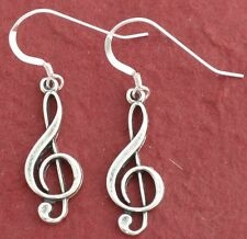 Sterling Silver Treble Clef Earrings solid 925 Music Note