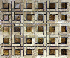 SAMPLE- Brown Natural Stone Glass Pattern Tile Sink Wall Kitchen Backsplash Spa