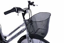 "Front Wire Mesh Large Shopping Town Bike Basket Steel Black 26"" - 700c Wheels"