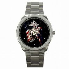 Marine Corps USMC Military Emblem Stainless Steel Sport Watch New!