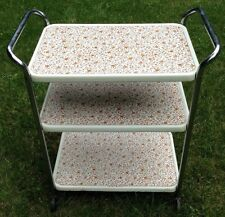 VINTAGE MID CENTURY MODERN ROLLING 3 TIER KITCHEN UTILITY CART FLORAL CHROME 50s