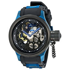Invicta Russian Diver Mechanical Black Skeleton Dial Black Polyurethane Blue