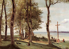 Wonderful Oil painting Corot - Pilgrims and cross by river landscape canvas 36""