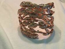 Luxe Rachel Zoe Crystal Accent Wrapped Leaves Hinged Rosetone Bracelet