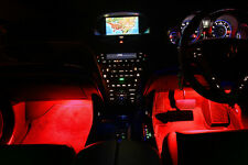4pc Red LED Under Dash Kit Interior Glow Lights