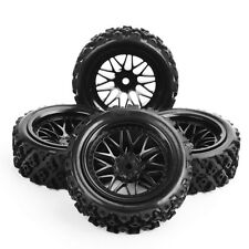 4 Pcs Rubber Tires Wheel Rim For RC 1/10 Rally Racing Off Road Car PP0487+BBNK