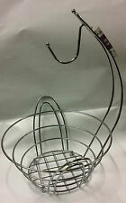 NEW 2 IN 1 CHROME BANANA HOOK HANGER FRUIT BOWL BASKET STAND 27CMX28CMX38CM