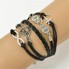*UK* Ladies leather look black Multilayer vintage infinity bracelet charm GIFT